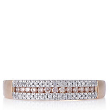 0.25ct Natural Pink & White Diamond Half Eternity Ring 9ct Gold