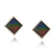 Canadian Ammolite Triplet Faceted Square Earrings 14ct Gold