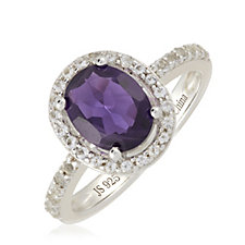 2ct Amethyst Oval Halo Ring Sterling Silver