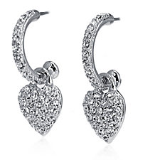 Nour Pave Crystal Heart Charm Hoop Earrings