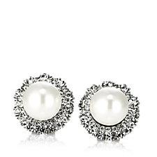 Frank Usher Crystal & Simulated Pearl Stud Earrings