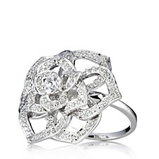Michelle Mone for Diamonique 0.7ct tw Flower Ring Sterling Silver