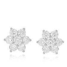 Michelle Mone for Diamonique 4.1ct tw Flower Earrings Sterling Silver