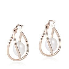 Honora 8-9mm Cultured Button Pearl Caged Hoop Earrings Sterling Silver