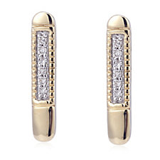 Diamond Accent Bar Earrings 9ct Gold
