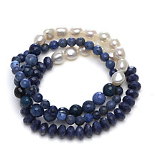 Honora 8-9mm Set of 3 Stretch Baroque Pearl & Gemstone 19cm Bracelet