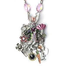Kirks Folly White Rabbit Drop Charm Necklace & Brooch Set