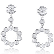 Diamonique 1.1ct tw Circle Drop Earrings Sterling Silver