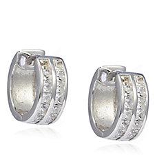 Diamonique 1.4ct tw Channel Double Row Huggie Earrings Sterling Silver