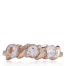 1ct Morganite 3 Stone Wave Ring Rose Gold Vermeil Sterling Silver