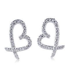 Diamonique by Andrea McLean 0.5ct tw Heart Kiss Earrings Sterling Silver