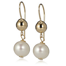 Honora 8mm White Pearl Drop Earrings with Secura Catch 14ct Gold