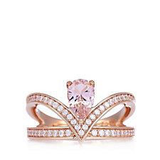 Diamonique 1.3ct tw Morganite Ring Sterling Silver