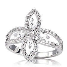 Diamonique 1.1ct tw Marquise Ring Sterling Silver