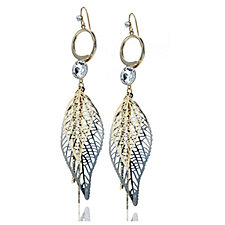 Nour Leaf Crystal Drop Earrings
