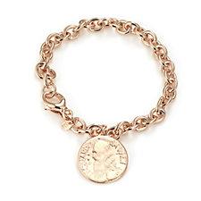 Bronzo Italia Coin Charm Rolo 21cm Bracelet