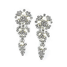 Frank Usher Chandelier Crystal & Simulated Pearl Earrings