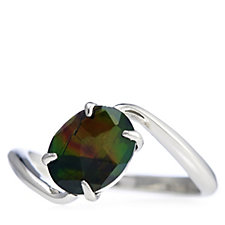 Canadian Ammolite Triplet Oval Bypass Ring Sterling Silver