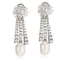 Elizabeth Taylor Simulated Pearl & Simulated Diamond Clip On Earrings