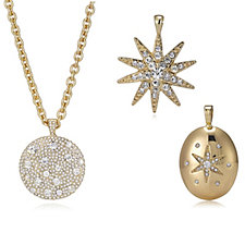 Isaac Mizrahi Live Set of 3 Interchangeable Pendant Necklace