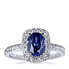 Diamonique 1.7ct tw Halo Simulated Tanzanite Ring Sterling Silver