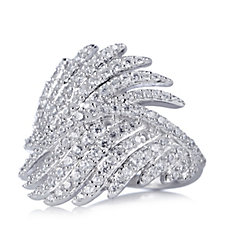 309265 - Diamonique by Andrea McLean 1.3ct tw Angel Wing Ring Sterling Silver