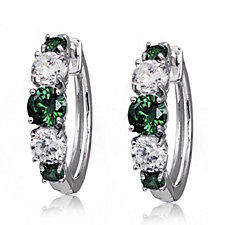 316665 - Diamonique 2.8ct tw Simulated Emerald Hoop Earrings Sterling Silver