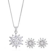 Diamonique 3.7ct tw Cluster Pendant & Chain & Earrings Set Sterling Silver