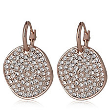 Loverocks Wave Pave Disc Drop Earrings