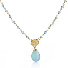 Azuni London 24ct Gold Plated Faceted Stone Pendant Necklace