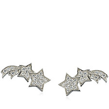 Diamonique 0.4ct tw Shooting Star Earclimbers Sterling Silver