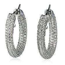 Elizabeth Taylor Simulated Diamond Pave Hoop Earrings
