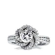 Diamonique 1.2ct tw Swirl Solitaire Ring Sterling Silver