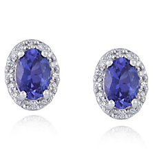 0.9ct AAA Tanzanite Oval Studs with 0.1ct of Diamonds 18ct Gold