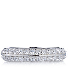 Diamonique 1.4ct tw Double Row Eternity Ring Sterling Silver