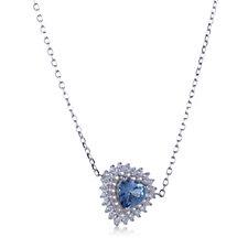 Diamonique 2ct tw Simulated Aquamarine 45cm Necklace Sterling Silver