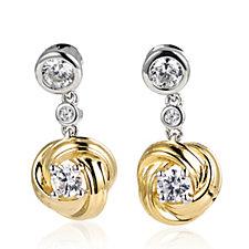 Diamonique 1ct tw Knot Drop Earrings Sterling Silver