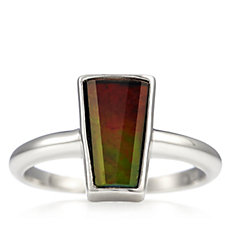 Canadian Ammolite Triplet Elongated Ring Sterling Silver