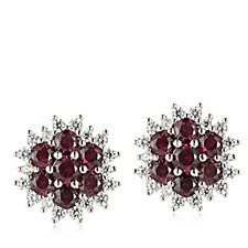 Diamonique 1.5ct tw Simulated Ruby Flower Stud Earrings Sterling Silver