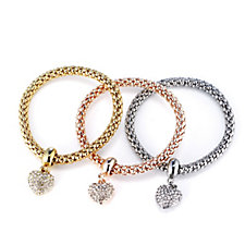 Buckley London Mesh Heart Set of Three Bracelets