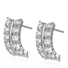 Diamonique 1.2ct tw Half Hoop Earrings Sterling Silver