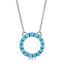 Sleeping Beauty Turquoise Eternity Circle 45cm Necklace Sterling Silver