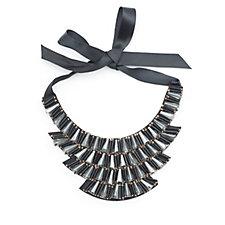 Loverocks Statement Bib Ribbon Tie Necklace