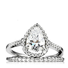 306668 - Diamonique 7.2ct tw Pear Cut Halo 2 Piece Ring Set Sterling Silver