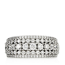 Platinum Plated Diamonique 1.3ct tw Band Ring Sterling Silver