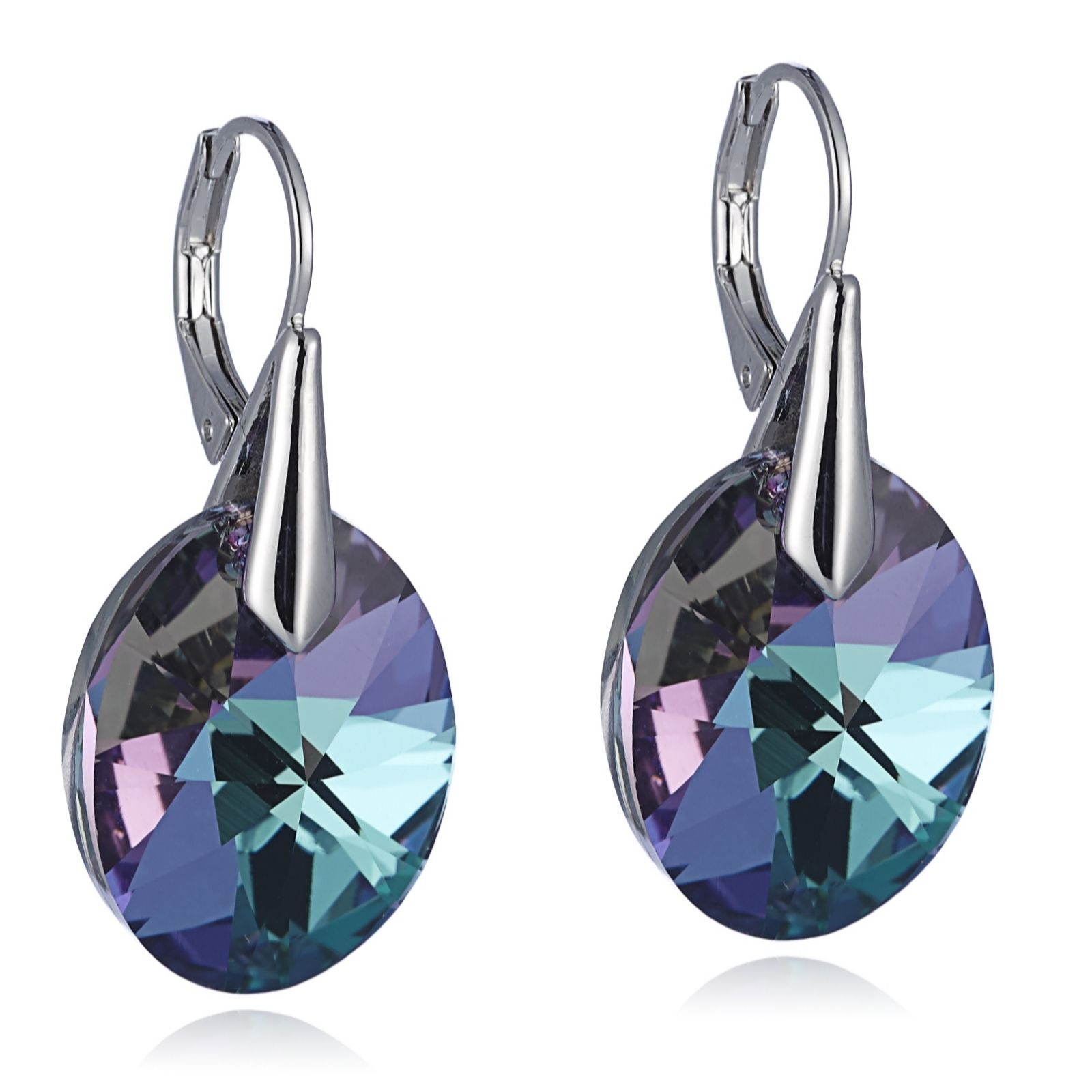 Aurora Swarovski Crystal Round Cut Leverback Drop Earrings 308868