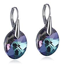 Aurora Swarovski Crystal Round Cut Leverback Drop Earrings