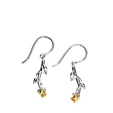 Azendi Birthday Flowers Rose Earrings Sterling Silver