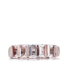1.4ct Morganite Half Eternity Ring Rose Gold Vermeil Sterling Silver