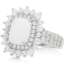 Diamonique 1.2ct tw Opal Double Band Ring Sterling Silver